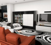 Modern-Living-room-Bold-Area-Rug-Orange-sofa