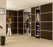 fitted-sliding-wardrobe-dark-wood-mirror
