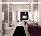 purple-black-and-white-graphic-print-bathroom